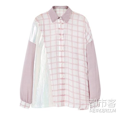 太平鸟 格纹拼接衬衫