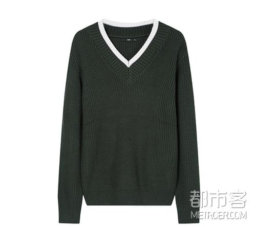 GXG 军绿V领毛衫