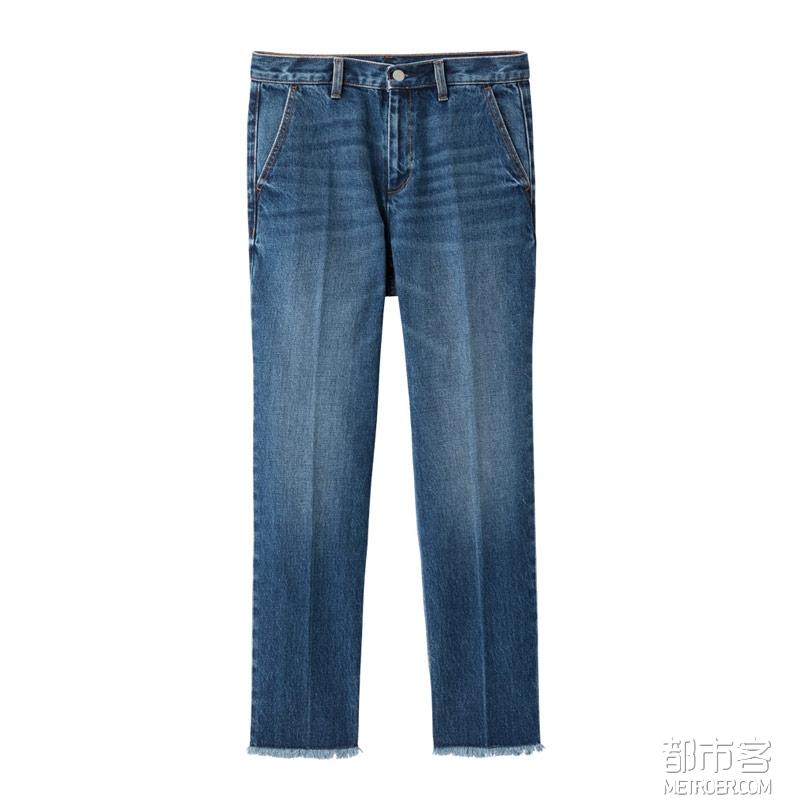 GU 直筒牛仔裤