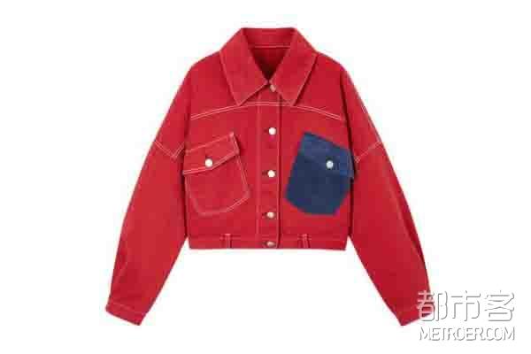 PEACEBIRD/太平鸟 韩版短款廓形单排扣外套