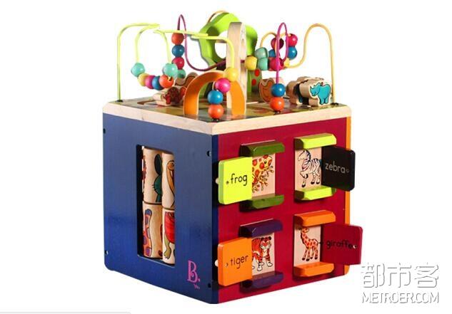 B.toys比乐 木制多功能百宝箱-动物园活动木立方