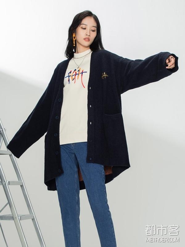 LEE 101+系列新款藏蓝色毛衣开衫